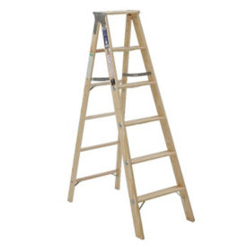 12'H Wood Stepladder Heavy Duty Type I, V21717