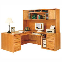 Right Handed Return L-Desk with Storage Hutch, D30164