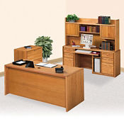 Computer Desk and Hutched Credenza with File Set , D35305