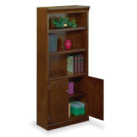 "Five Shelf Open Bookcase with Doors - 72"" H, D30181"
