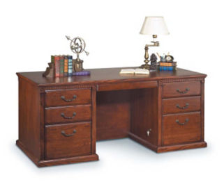 "68"" Burnish Oak 7-Drawer Desk, D30111"