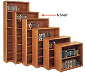 Medium Oak Six Shelf Bookcase, B30382