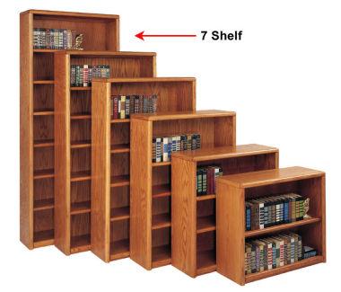 Medium Oak Seven Shelf Bookcase, B30380