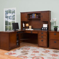 L-Desk with Hutch and Vertical File, D37757