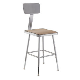 "Square Seat Stool with Backrest - 32-41.5""H, C70500"