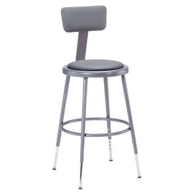 "Adjustable Height Padded Stool with Backrest- 32""-42""H, C70506"