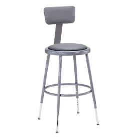 "Adjustable Height Padded Stool with Backrest - 38-47.5""H, C70507"