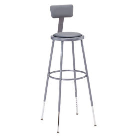 "Adjustable Height Padded Stool with Backrest - 44-53.5""H, C70508"