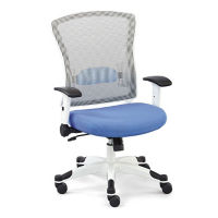 White Frame Mesh Chair with Flip Arms and Memory Foam Seat, C80432