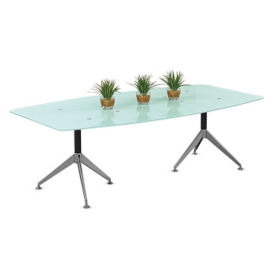 """Glass Top Boat-Shaped Conference Table - 94""""W, C90360"""