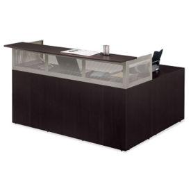 "At Work Right Return Reception L-Desk with Pedestal - 72""W, D35346"