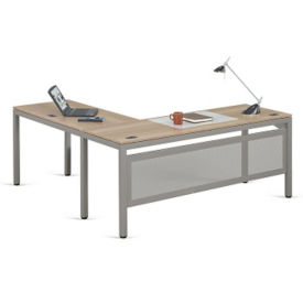 "At Work Executive L-Desk with Modesty Panel in Warm Ash - 72""W x 72""D, D37529"
