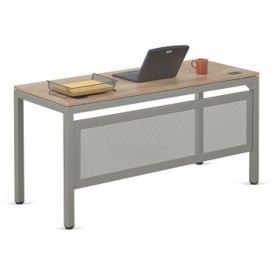 "At Work Table Compact Desk with Modesty Panel in Warm Ash - 60""W x 24""D, D37533"