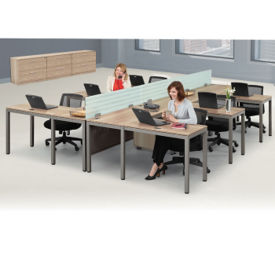 At Work Six Person Compact L-Desk Set in Warm Ash, D37534