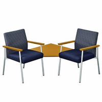 Two Fabric Guest Chairs with Corner Table Set, C80253
