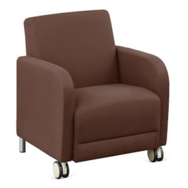 "Parkside Leather Guest Chair with Casters - 27""W, W60979"