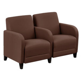 "Parkside Two Seater with Center Arm in Leather - 51.5""W, W60982"