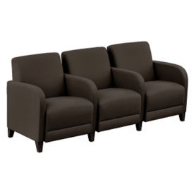 "Parkside Leather Three Seater with Center Arms - 75.5""W, W60984"