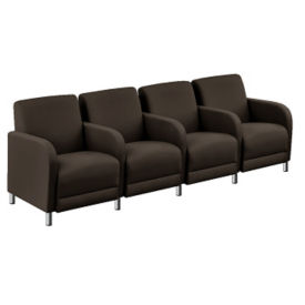 "Parkside Leather Four Seater with Center Arm - 51.5""W, W60985"