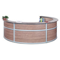 "Compass Laminate Quad Reception Desk - 142""W x 106""D, D30299"