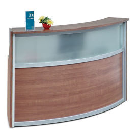 "Compass Laminate and Glass Reception Desk - 72""W x 30""D, D30291"