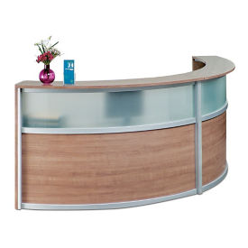 "Compass Laminate and Glass Double Reception Desk - 125""W x 48""D, D30293"