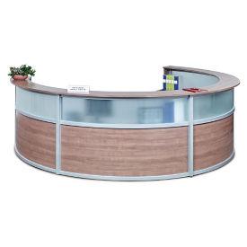 """Compass Laminate and Glass Quad Reception Desk - 125""""W x 48""""D, D30298"""