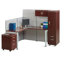 Instant Office L-Desk Station with Wardrobe, D35673