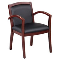Expressions Set of 6 Full Back Faux Leather Wood Frame Chairs, T11896