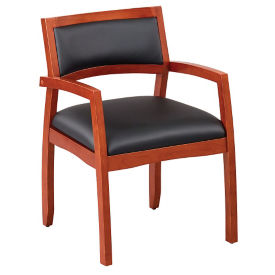 Expressions Half Back Faux Leather Wood Frame Chair, C90375