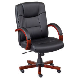 Axial Set of Six Faux Leather Conference Chairs with Wood Frame, T11897