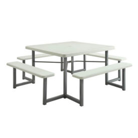 "Square Picnic Table with Benches - 49""W, F10326"