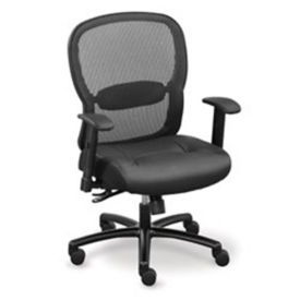 Linear Mesh Back Big and Tall Chair with Memory Foam Faux Leather Seat, C80437