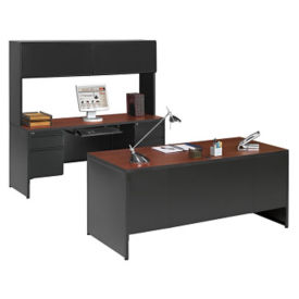 Desk and Credenza with Hutch- 3 Piece Set, D30208