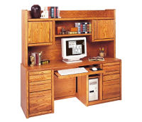 "Computer Credenza with Hutch - 19.25""D x 68.25"" W, D35302"