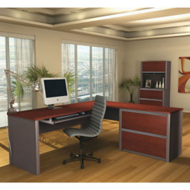 L-Desk and File with Hutch Set, D35238