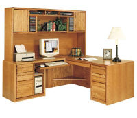 Left Handed Return L-Desk with Storage Hutch, D35129