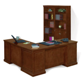 Executive L-Desk with Bookcase, D35192