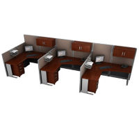 Three Person Workstation with Panels and Storage, D35160