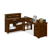Compact L-Desk and Hutch Set, D35312