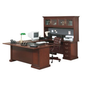 "Executive U-Desk with Hutch - 107"" D x 70.5"" W, D30173"