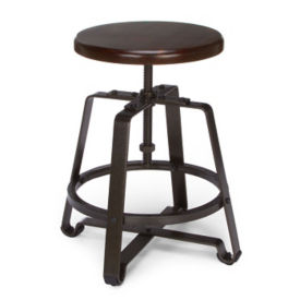 Adjustable Height Small Stool with Solid Wood Seat, L70109