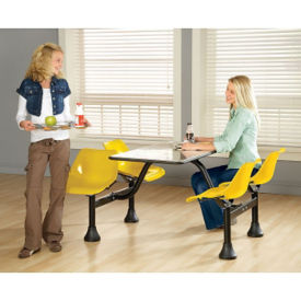 "Cluster Lunchroom Table with Four Chairs - 48"" D x 65"" W, T11111"