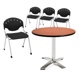Breakroom Table and Four Armless Stack Chairs, T11525