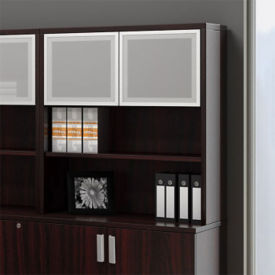 "Contemporary Collection Bookcase Hutch with Silver Doors - 36"", B30565"