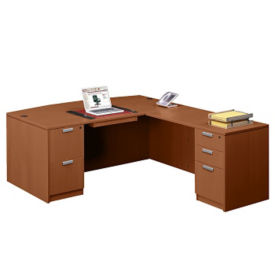 "Contemporary Collection Bow Front L-Desk - 89""D x 71""W, D30242"