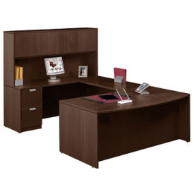Contemporary Bow Front U-Desk and Hutch, D30248