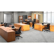 Contemporary Three L-Desks and Conference Room Office Suite, D30256