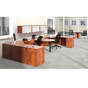 "Contemporary Two Person Workstation with Wall Storage - 180""W x 72""D, D30260"