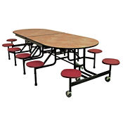 "Custom Logo 10 Seat ADA Mobile Cafeteria Table - 29""H, K10055"